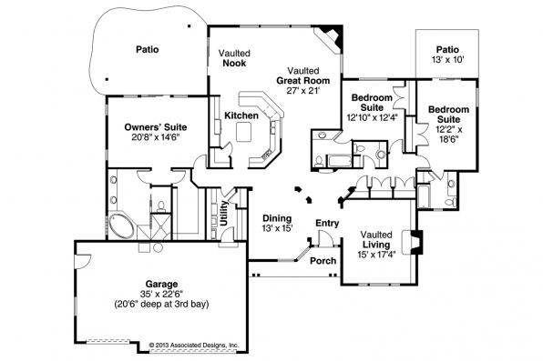 Ranch House Plan - Carson 30-670 - Floor Plan