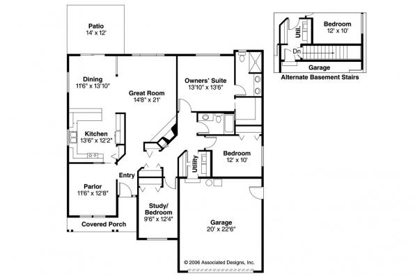 Ranch House Plan - Chapman 30-544 - Floor Plan