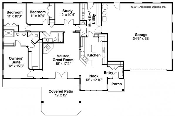 Ranch House Plans Elk Lake 30849 Associated Designs – Slab House Floor Plans