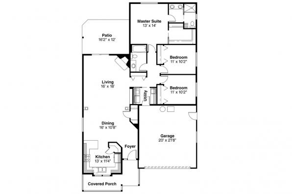Ranch House Plan - Emmett 30-234 - Floor Plan