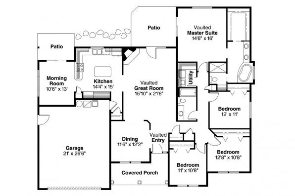 Ranch House Plan - Finley 30-364 - Floor Plan