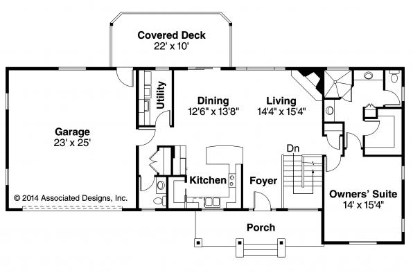 Ranch house plans gatsby 30 664 associated designs Ranch basement floor plans