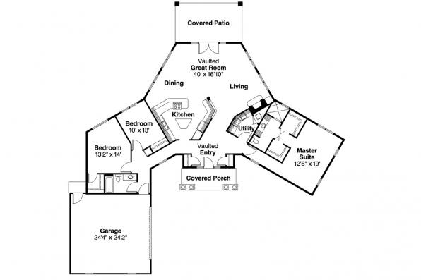 Ranch House Plan - Hamilton 10-446 - Floor Plan