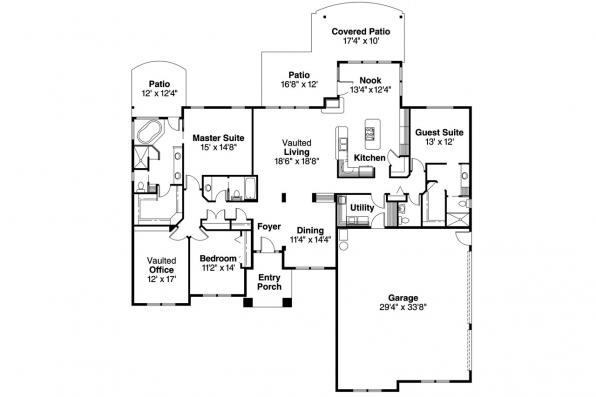 Ranch House Plan - Haverford 30-373 - Floor Plan