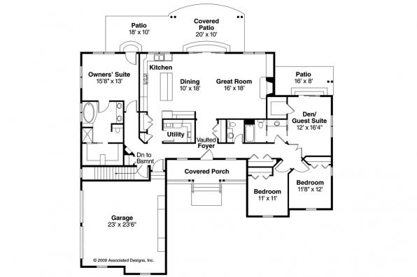 Ranch House Plan - Heartville 10-560 - Floor Plan