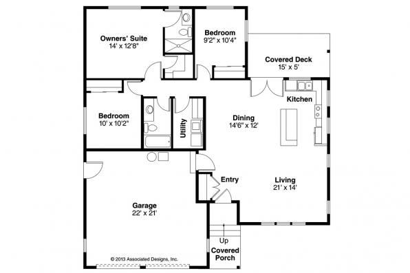 Ranch House Plan - Kenton 10-587 - Floor Plan