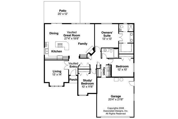 Ranch House Plan - Lamont 30-235 - Floor Plan