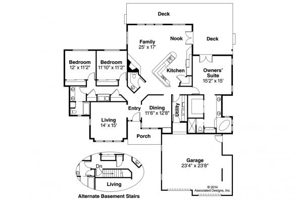 Ranch House Plan - Raleigh 10-002 - Floor Plan