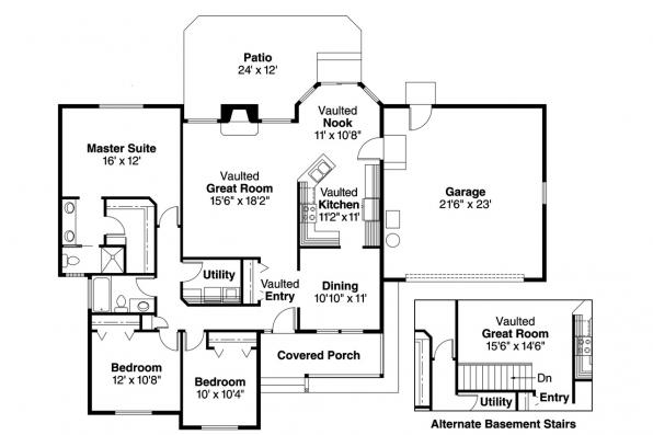 Ranch House Plan - Rigdon 30-090 - Floor Plan