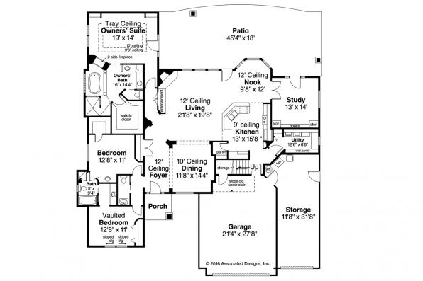 Ranch House Plan - Rosemont 30-376 - 1st Floor Plan