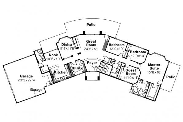 Southwest House Plan - Estefan 30-125 - 1st Floor Plan