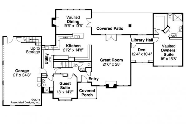 Southwest House Plan - Noranda 30-123 - First Floor Plan