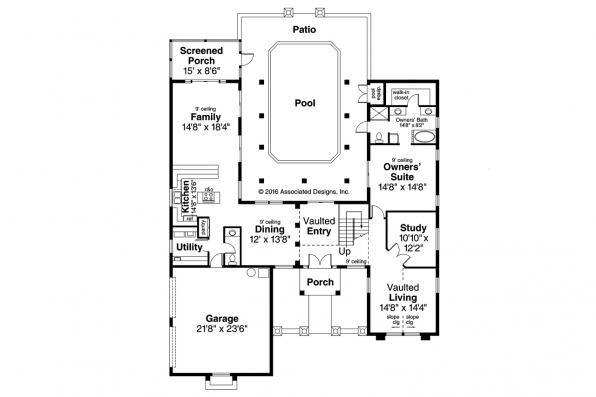 Southwest House Plan - Roswell 11-086 - 1st Floor Plan