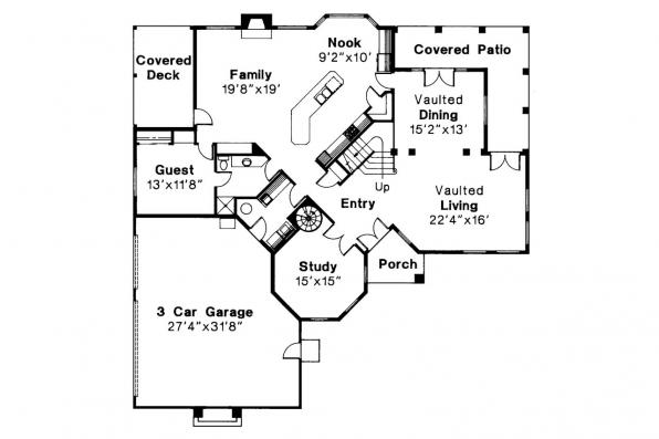 Spanish Style House Plan - Stanfield 11-084 - 1st Floor Plan