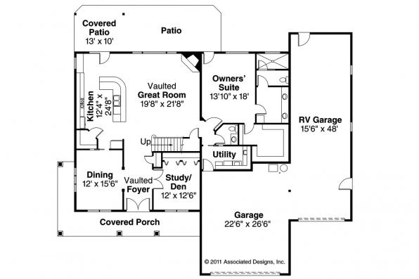 Traditional House Plan - Claredon 30-564 - 1st Floor Plan