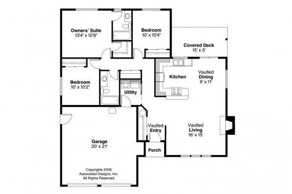 Traditional House Plan - Coulee 10-220 - Floor Plan