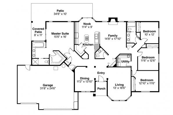 Traditional House Plan - Fernridge 10-175 - Floor Plan
