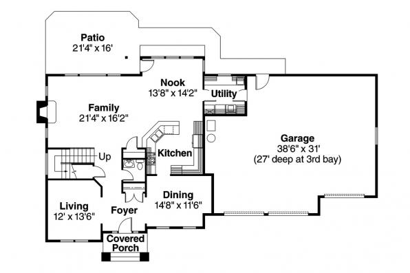 Traditional House Plan - Glenhurst 30-372 - 1st Floor Plan