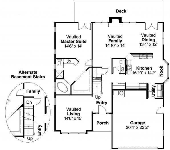 Traditional House Plan - Maderas 10-012 - 1st Floor Plan