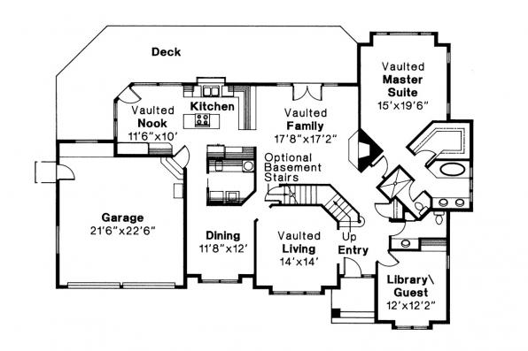 Traditional House Plan - Melrose 10-047 - 1st Floor Plan