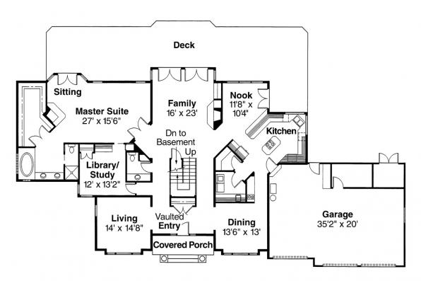 Tudor House Plan - Heritage 10-044 - 1st Floor Plan