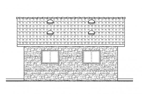 1 Car Garage Plan 20-001 - Left Elevation