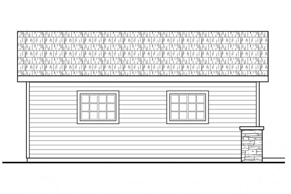 1 Car Garage Plan 20-190 - Left Elevation