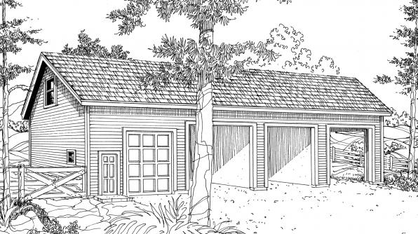 Storage w/Shop - 20-032 - Garage Plans - Front Elevation