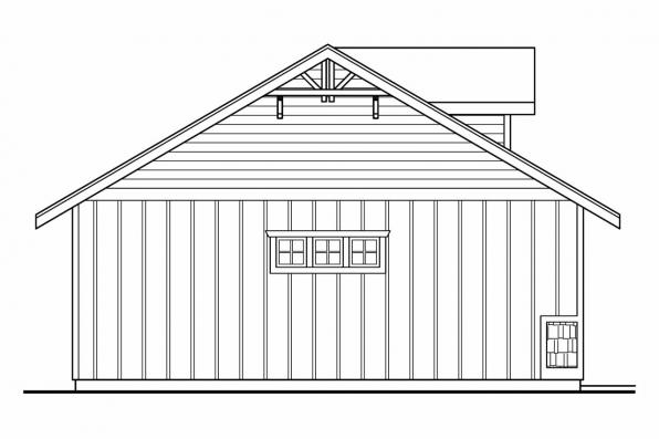 2 Car Garage Plan 20-034 - Left Elevation