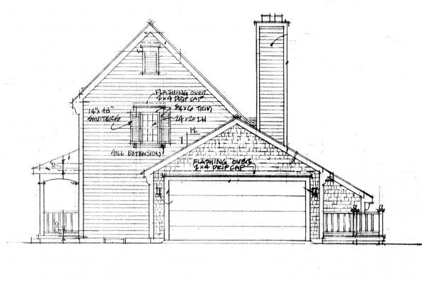 2 Story House Plan - Trowbridge 42-005 - Right Elevation