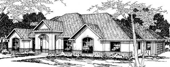 Barstow - 30-050 - Southwestern Home Plans - Front Elevation