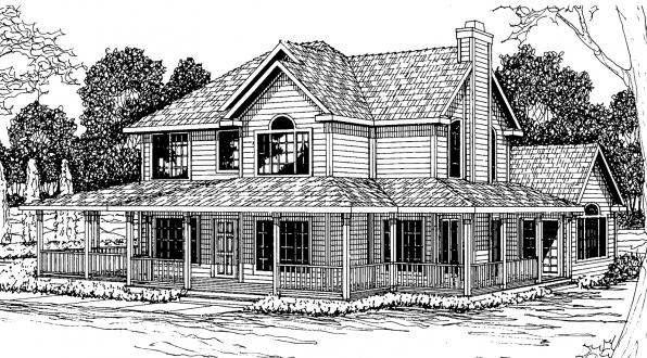 Atkinson - 30-060 - Country Home Plans - Front Elevation
