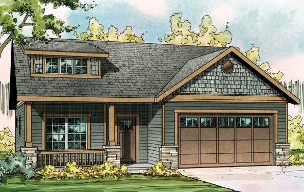 Cedar Ridge - 30-855 - Craftsman Home Plan - Front Elevation