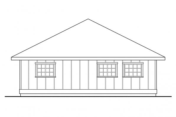 3 Car Garage Plan 20-050 - Left Elevation