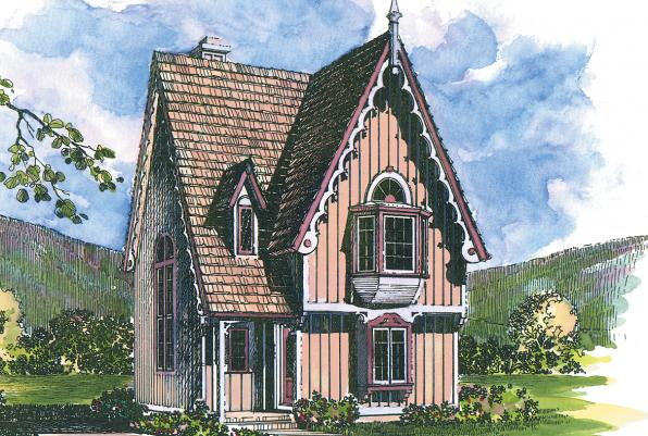 Langston - 42-027 - Victorian Home Plans - Front Elevation