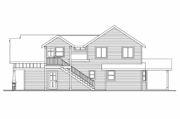 Beach House Plan - Elmdale 30-598 - Rear Elevation
