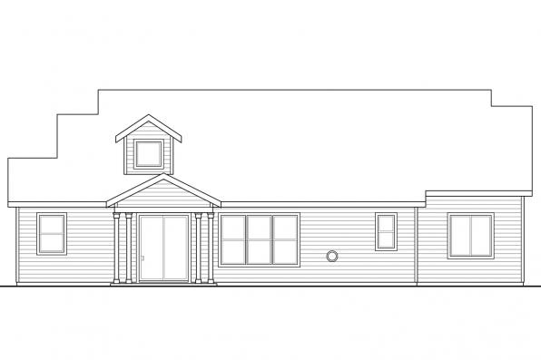 Bungalow House Plan - Azalea 31-028 - Rear Elevation