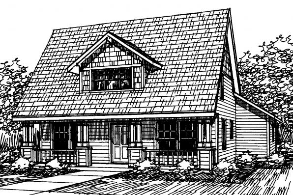 Bungalow House Plan - Richardson 30-102 - Front Elevation