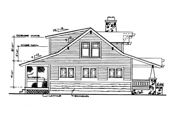 Bungalow House Plan - Tuckahoe 41-013 - Left Elevation