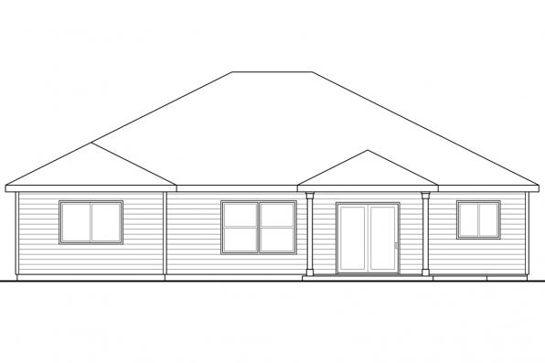 Cape Cod House Plan - Glenhaven 30-927 - Rear Elevation