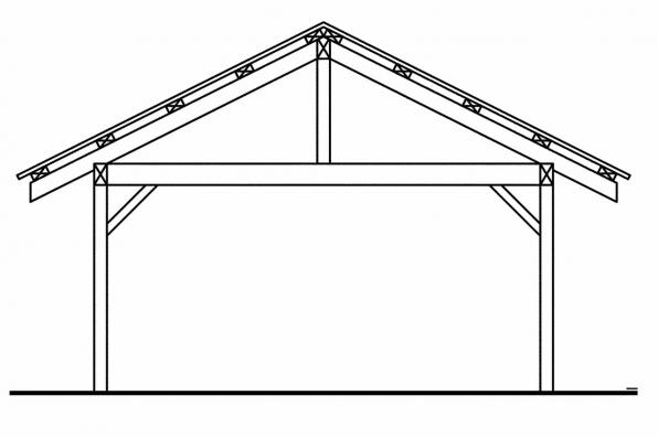 Carport Designs 20-028 - Rear Elevation