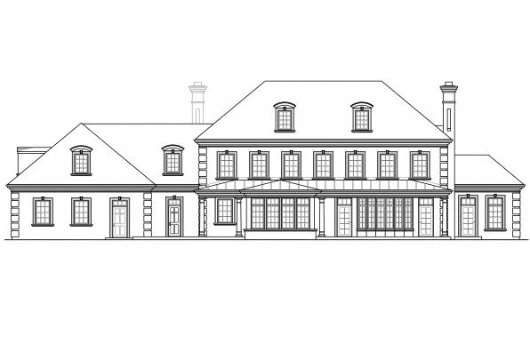 Chateau House Plan - Edgewood 30-313 - Rear Elevation