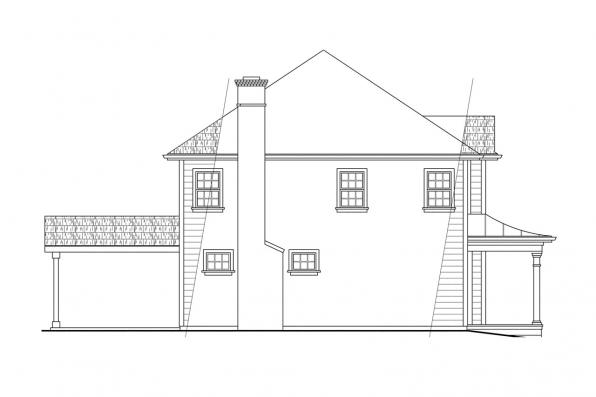 Colonial House Plan - Lorane 30-107 - Left Elevation