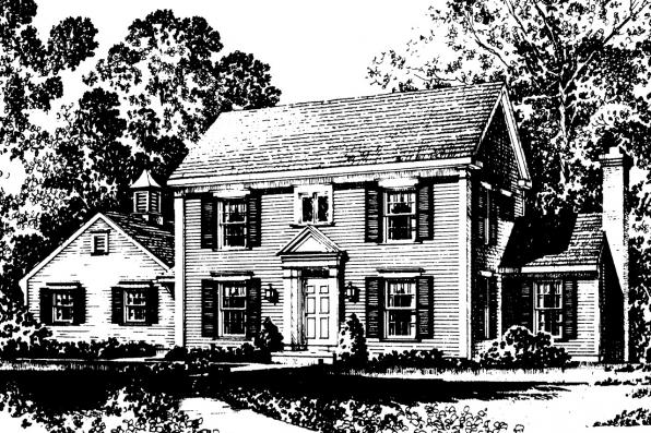 Colonial House Plan - Maumee 42-007 - Front Elevation