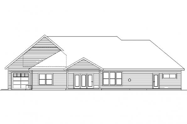 Contemporary House Plan - Abbington 30-582 - Rear Elevation