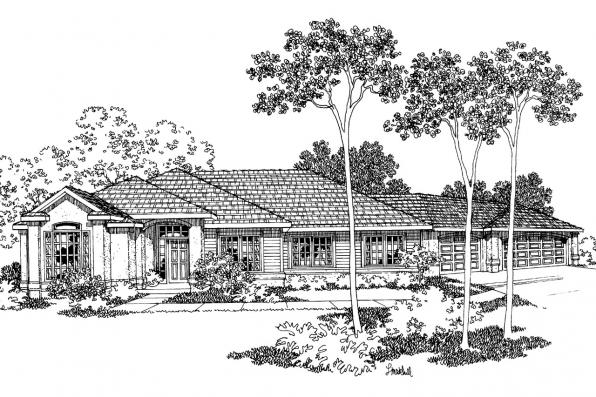 Contemporary House Plan - Dawson 30-140 - Front Elevation