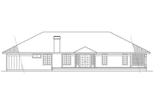 Contemporary House Plan - Jefferson 10-056 - Rear Elevation