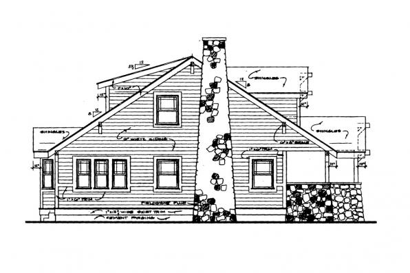 Cottage House Plan - Alhambra 41-001 - Left Elevation