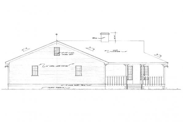Cottage House Plan - Demerara 41-004 - Left Elevation
