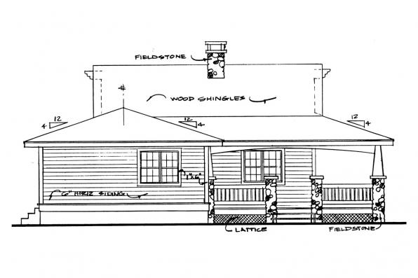 Cottage House Plan - Fenwick 41-012 - Left Elevation
